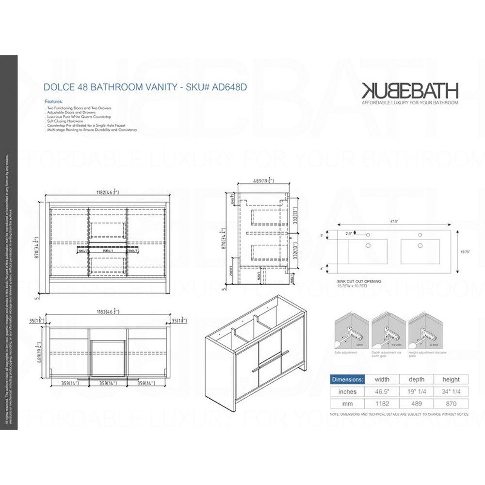 KubeBath Dolce 48u2033 Double Sink Ash Gray Modern Bathroom Vanity With White  Quartz Counter Top     Amazon.com