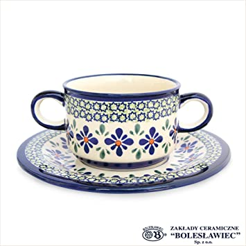 e6f49806c708 Zaklady Ceramiczne Boleslawiec/ザクワディ ボレスワヴィエツ陶器スープボウル&ソーサー-du60
