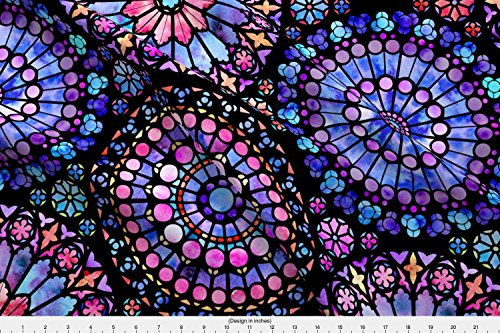 Spoonflower Stained Glass Fabric - Painted Rose Windows (Purple and Red - Large) - Designed by Logan_Spector - Fabric Printed On Basic Cotton Ultra Fabric by The Yard from Spoonflower