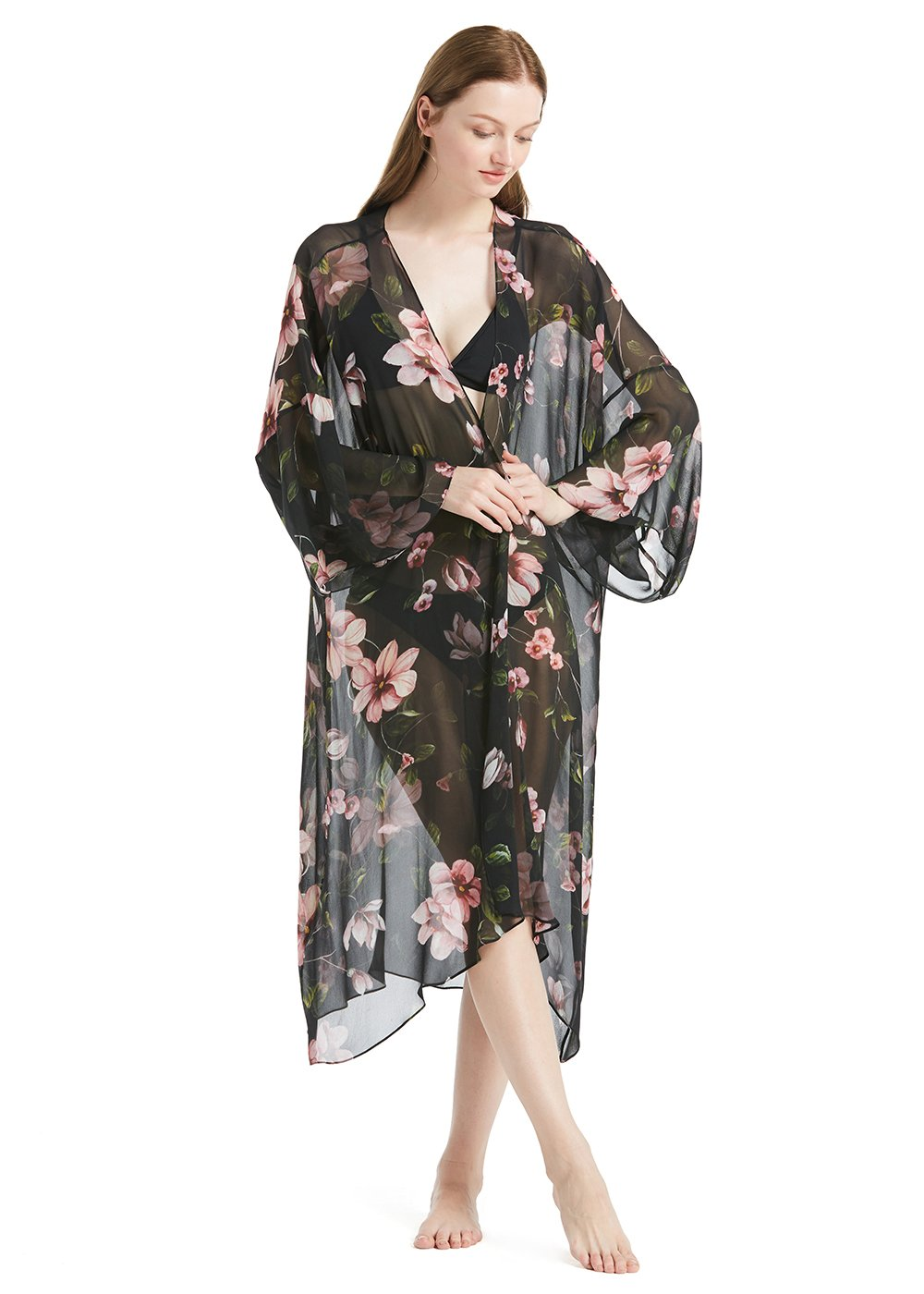 LILYSILK Silk Kimono for Women 12MM Oversize High Low Floral Summer Beach Outerwear Casual Elegant Floral Black XL/14-16