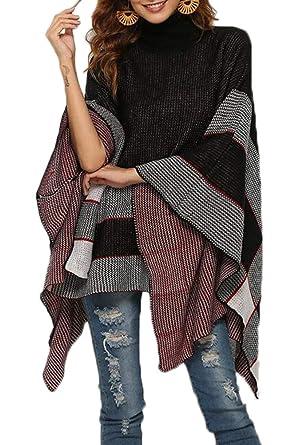 d32231a78af Femmes Chandail en Tricot Manche Longue Col Roulé Pullover Femmes  Chauve-Souris Écharpe Casual Sweater
