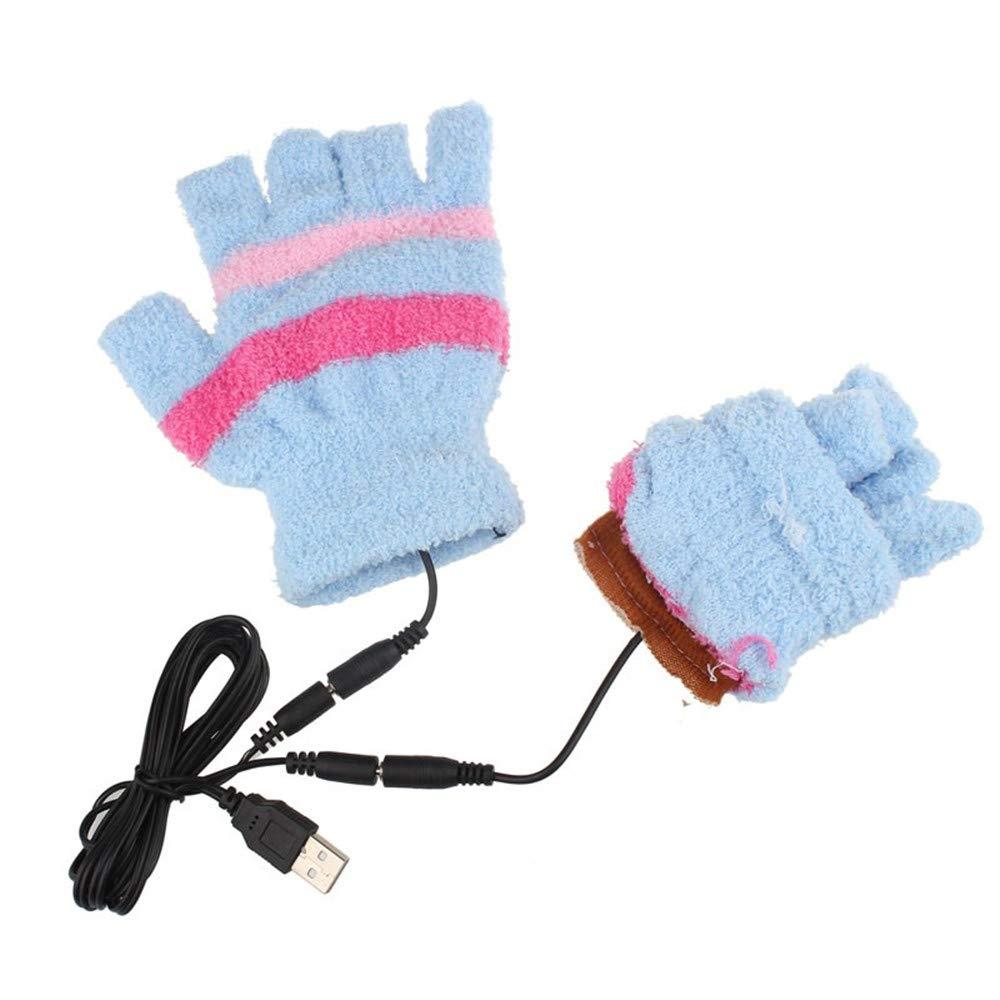 Zolimx Mode Damen Handschuh USB-Heizung Winter-Handwarme Handschuhe Beheizter fingerloser Wä rmer-Handschuh Gloves