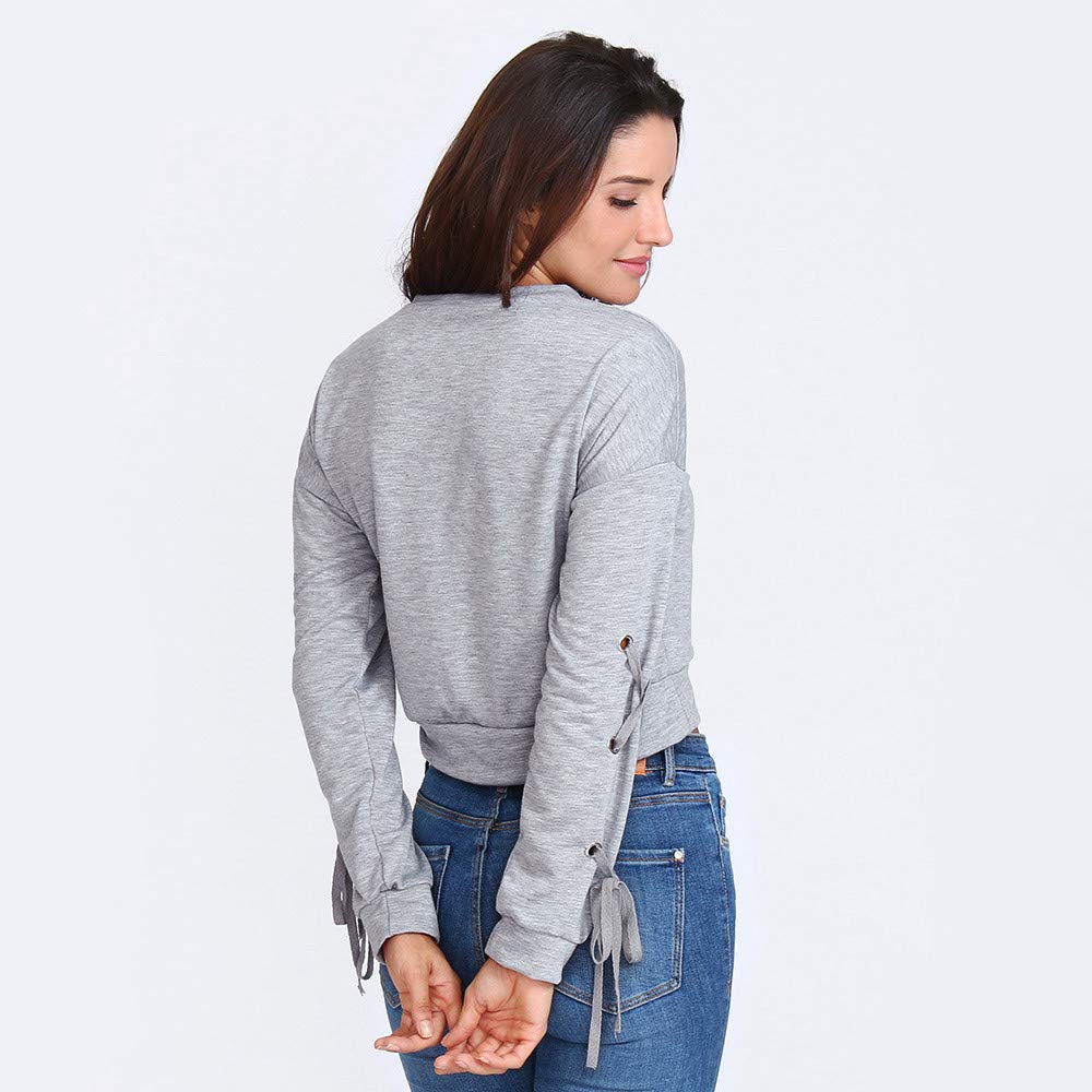 Tefamore Femmes Casual Lace Up Manches Longues Pull Crop Sweatshirt Haut Solide