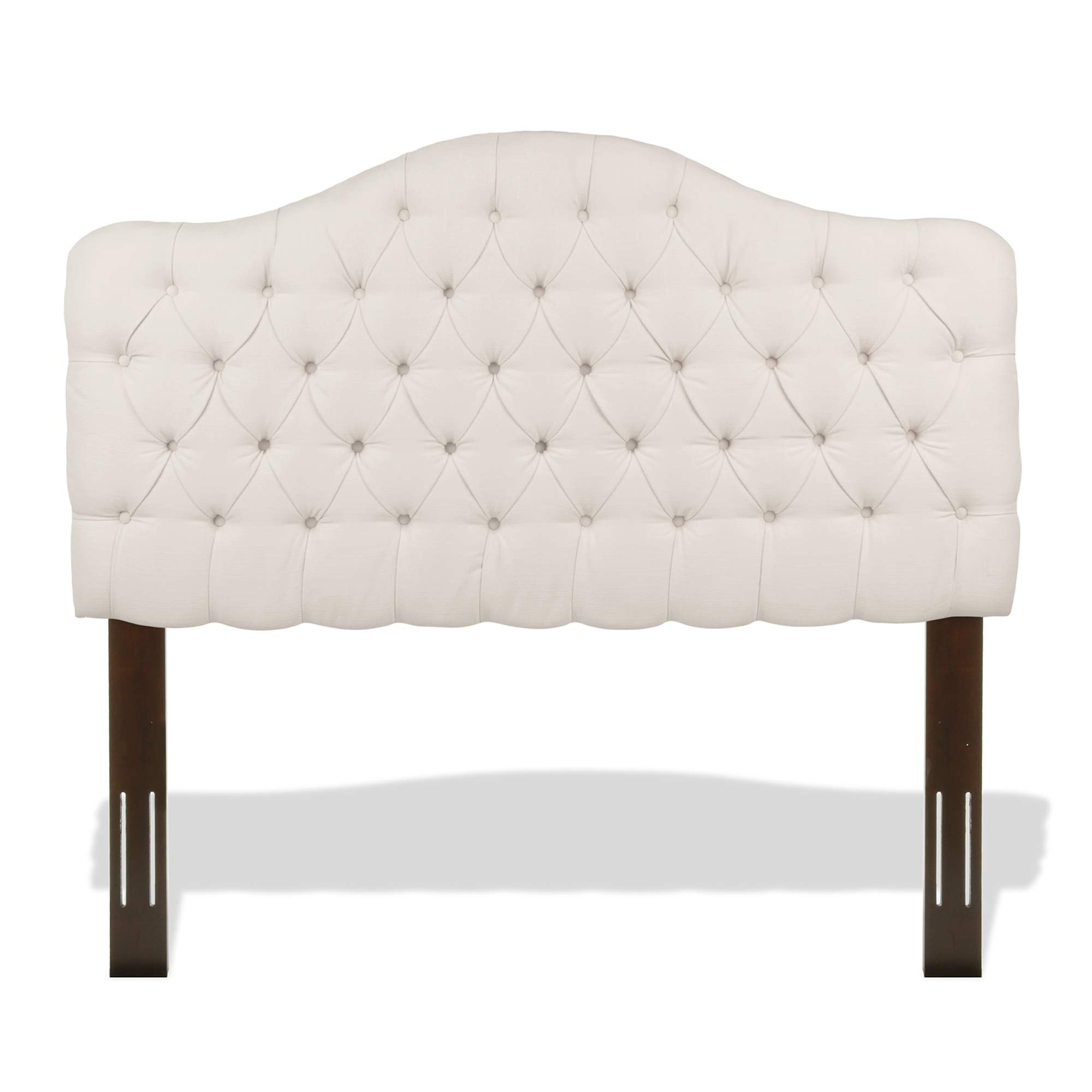 Leggett & Platt Martinique Button-Tuft Upholstered Headboard with Adjustable Height, Ivory Finish, Full / Queen