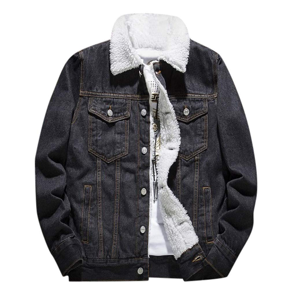 WINJUD Mens Denim Jacket Winter Thicken Vintage Wash Distressed Top Long Sleeve Coat (Black,52XL) by WINJUD