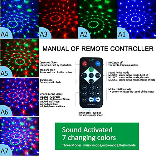 Disco Lights Sound Activated with Remote,Party Lights Disco Ball Light,Stage Lights-Multi Colors Rotating Magic LED Strobe Lights for Halloween,Xmas Parties,Room,Pool,Club,Home,Church,Karaoke,Wedding by Aolun (Image #1)