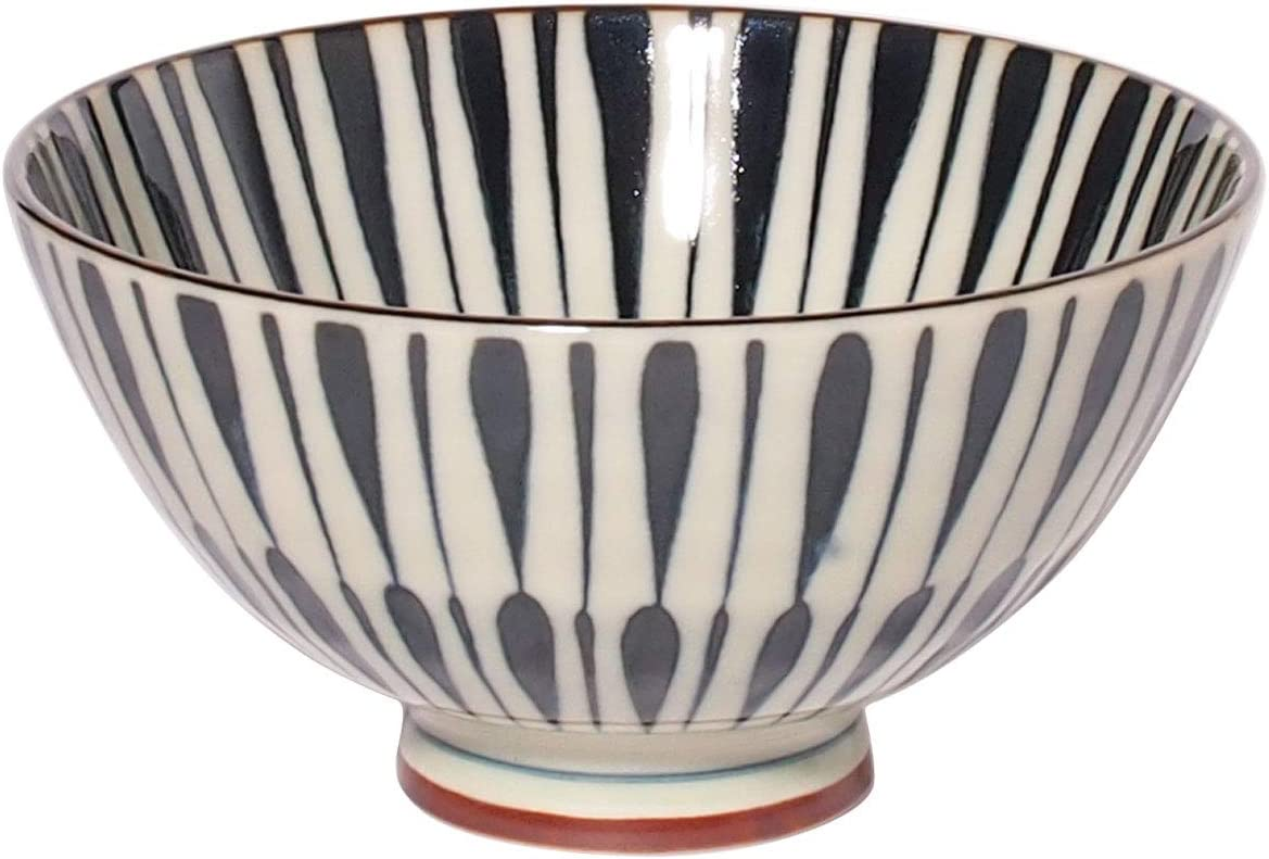 Minorutouki Rice Bowl Extra Large White Wave Whale Blue /φ5.8/×H2.6in 7.76oz Made in Japan