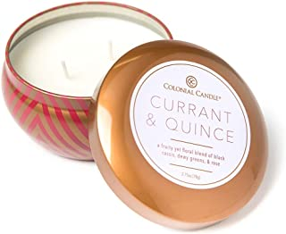 product image for Colonial Candle Scented Candle in Custom Designed Tin Natural Relaxation Freshener – Essential Clean Fresh Scent – (5.5 oz) (Currant & Quince)