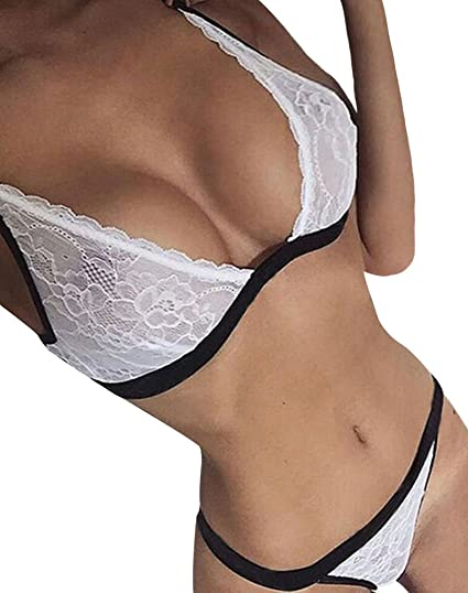 b1841ccf57 Faithtur Women Sexy Lingerie Set 2 Piece Lace Mesh Bra Thongs G-String  Nightwear (
