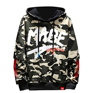 db3da31a3e7 BHYDRY Camouflage Hoodie Men Plus Size Autumn Winter Long Sleeved  Sweatshirt Top Blouse(UK-