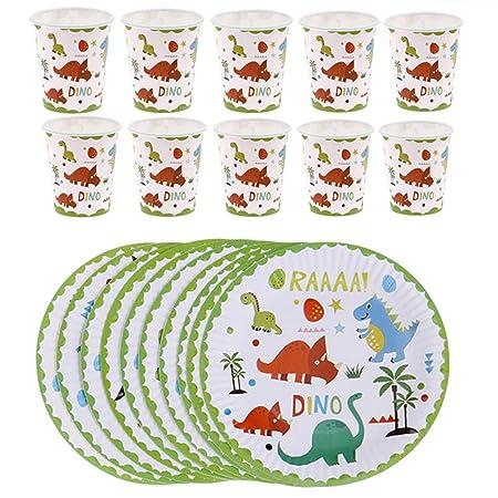 Juego de vajilla de dinosaurio Poluka, 10 platos de papel ...