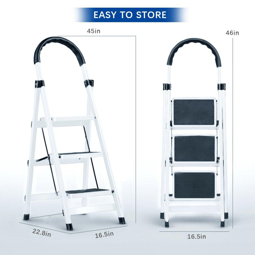 Gimify 3 Step Ladder Household Folding Steel Frame Stool Platform Ladder Anti-Slip Portable White (3 Step) by Gimify (Image #7)