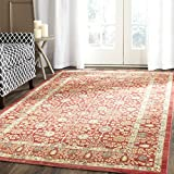 Safavieh VAL120R-8 Valencia Collection Red & Beige Polyester Area Rug, 8' x 10'