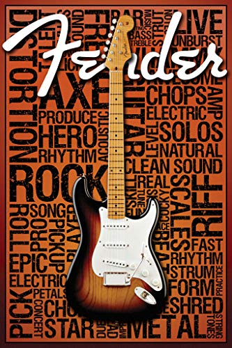 Fender Words 36x24 Art Print Poster Wall Decor Guitar Rock and Roll Strum Star Amps Fire Metal string Tones - Rock Metal Amps