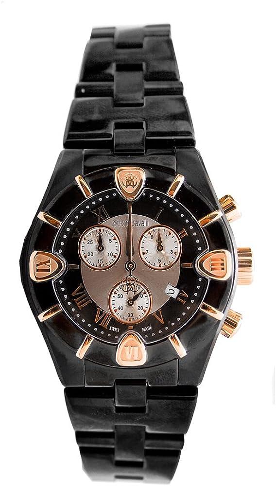 Roberto Cavalli 'Diamond Time' 7253616045 - Reloj de Caballero de Cuarzo, Correa de Acero Inoxidable Color Negro