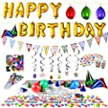 Happy Birthday Party Supplies and Party Decorations All-in-One Pack with Foil Balloons by Joyin Toy(Over 100 PC)