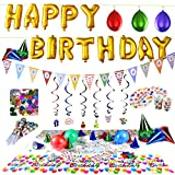 Over 100 PC Happy Birthday Party Supplies set and Party Decorations All-in-One Pack including Banner, Flags, Foil Party Balloons, Hats,Confetti, Tablecloth and Plates by Joyin Toy