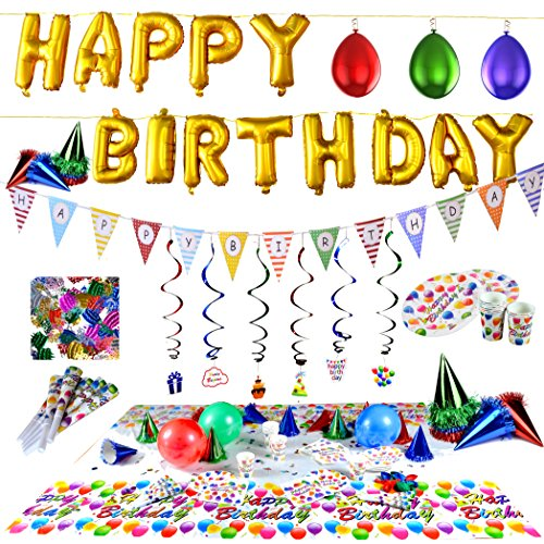 - Joyin Toy Happy Birthday Decorations Party Supplies Set (Over 100 PC) and Party Decorations All-in-One Pack including Banner, Flags, Foil Party Balloons, Hats,Confetti, Tablecloth and Plates.