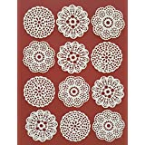 Medallion Lace 25 PC Edible Lace Edible White Vanilla 3 Designs Rosette Medallion Doily Applique Topper - Cupcake, Cake, Cookie, Chocolate, Coffee, Tea, or any Dessert