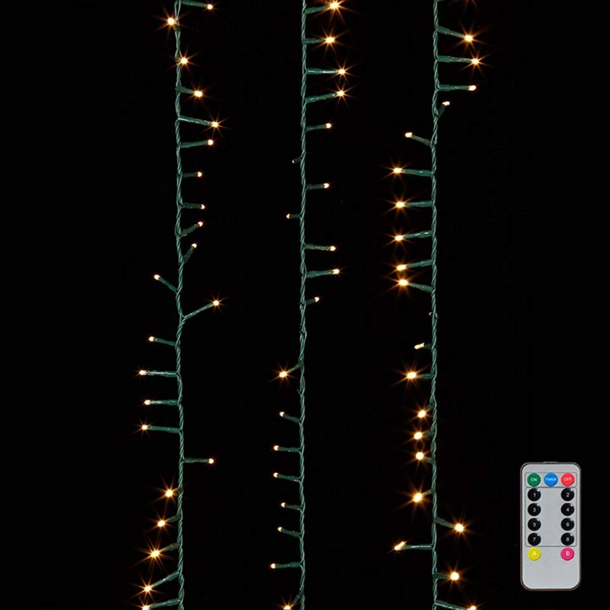 123 Foot Snake Garland 1700 Warm White LED Lights on Green Wire with Multi-function Remote
