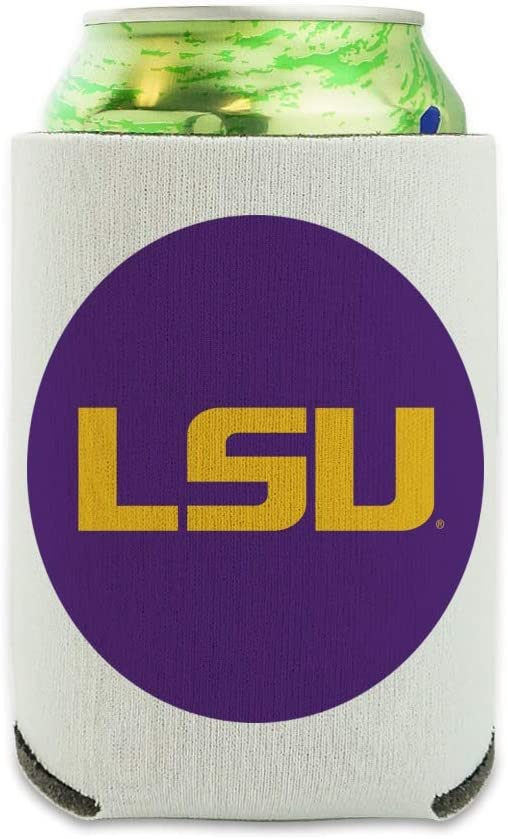 LSU Logo on Purple Can Cooler - Drink Sleeve Hugger Collapsible Insulator - Beverage Insulated Holder