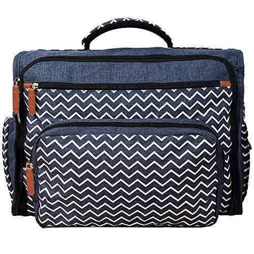 Shape28 Baby Diaper Bag Backpack - Denim / Jeans Mom's Bag - 16 Secure Pockets, Cushioned Changing Pad and Messenger, Backpack and Stroller Straps - Stylish, Unisex Design - Stroller Travel Bag (Changing Denim Pad)