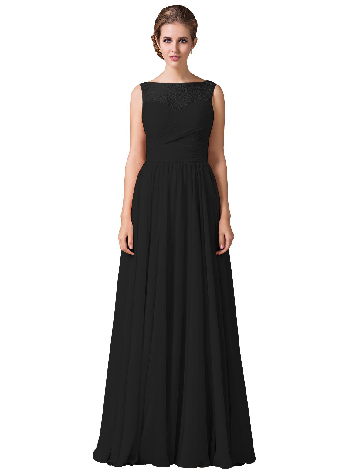Loffy Women's Bridesmaid Dress Lace With Shoulder Black Size 12