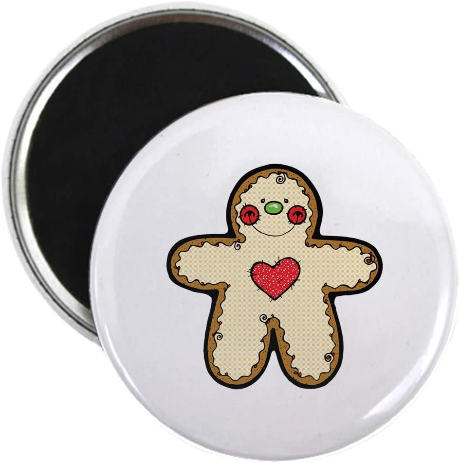 "CafePress Happy Heart Gingerbread Man Magnet 2.25"" Round Magnet, Refrigerator Magnet, Button Magnet Style"