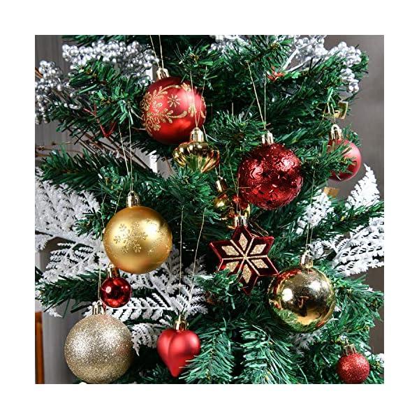 YILEEY Decorazioni Albero di Natale Palline di Plastica Oro e Rosso 68 Pezzi in 14 Tipi, Scatola di Palline di Natale Infrangibili con Gancio, Ornamenti Decorativi Ciondoli Regali 4 spesavip