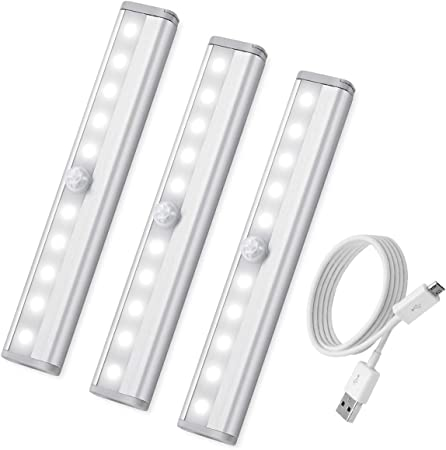12 LED PIR USB Lampe Rechargeable Capteur de mouvement Placard Veilleuse FR