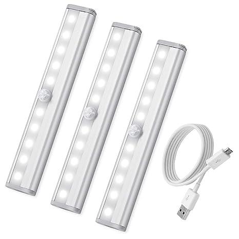 AMIR 10 LED USB Batería Armario de Sensor de Movimiento Luces, 3 Unidades, Stick