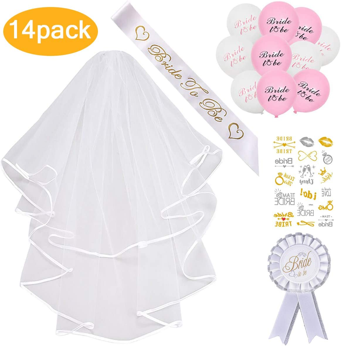 Nanchor Bride to be Decoration Set Bride to Be Sash Balloons Bridal Veil Tattoo Badge for Hen Night Bridal Shower