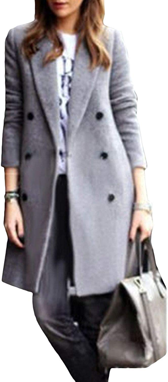 Ta-Da Autumn Winter Wool Long Coat Women Lapel Collar Double Breasted Coats Fashion Solid Slim Ladies Woolen Overcoat Outwear Red Wine