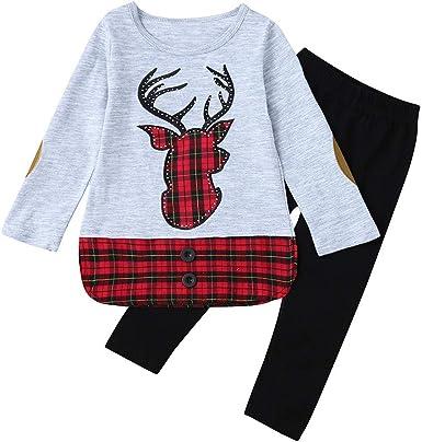 Traje Navidad Bebe Niña Bordado Reno Tops a Cuadros + Pantalones ...