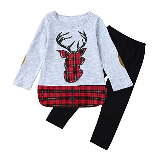 c4513e1682f0e MONsin Baby Girls Christmas Tops Pants Toddler Child Girls Xmas Embroidery  Deer Plaid Clothing Set (