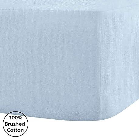 Sábana bajera ajustable, 100% franela de algodón peinado, 30 cm de profundidad., algodón, azul celeste, matrimonio grande: Amazon.es: Hogar