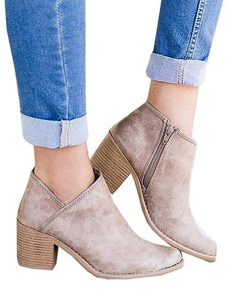 Botines Mujer Tacon Ancho Tacon Medio Invierno Planos Piel Botas Botita Moda 5cm Casual Planas Zapatos Calzado Caqui Azul Marrón 35-43: Amazon.es: Zapatos y ...