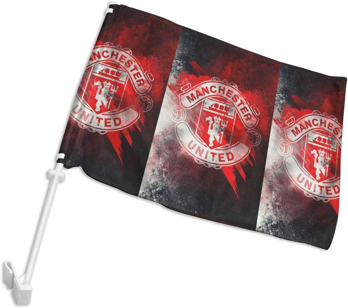 JIA9NS85 Manchester United Double Sided Car Window Vehicle Adjustable Car Flag 12 x18 Flag