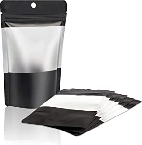 """100 Pieces Mylar Ziplock Food Storage Bags with Clear Window Resealable Food Bags Coffee Beans Packaging Pouch for Food Self Sealing Storage Supplies, Black (6.6"""" x 4.3"""" mini size)"""