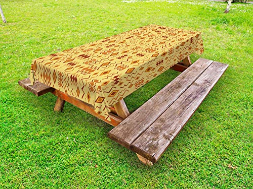 """Ambesonne African Outdoor Tablecloth, Random Doodles Pattern Herringbone Indigenous Art Folk Features, Decorative Washable Picnic Table Cloth, 58"""" X 84"""", Brown Marigold Mustard from Ambesonne"""