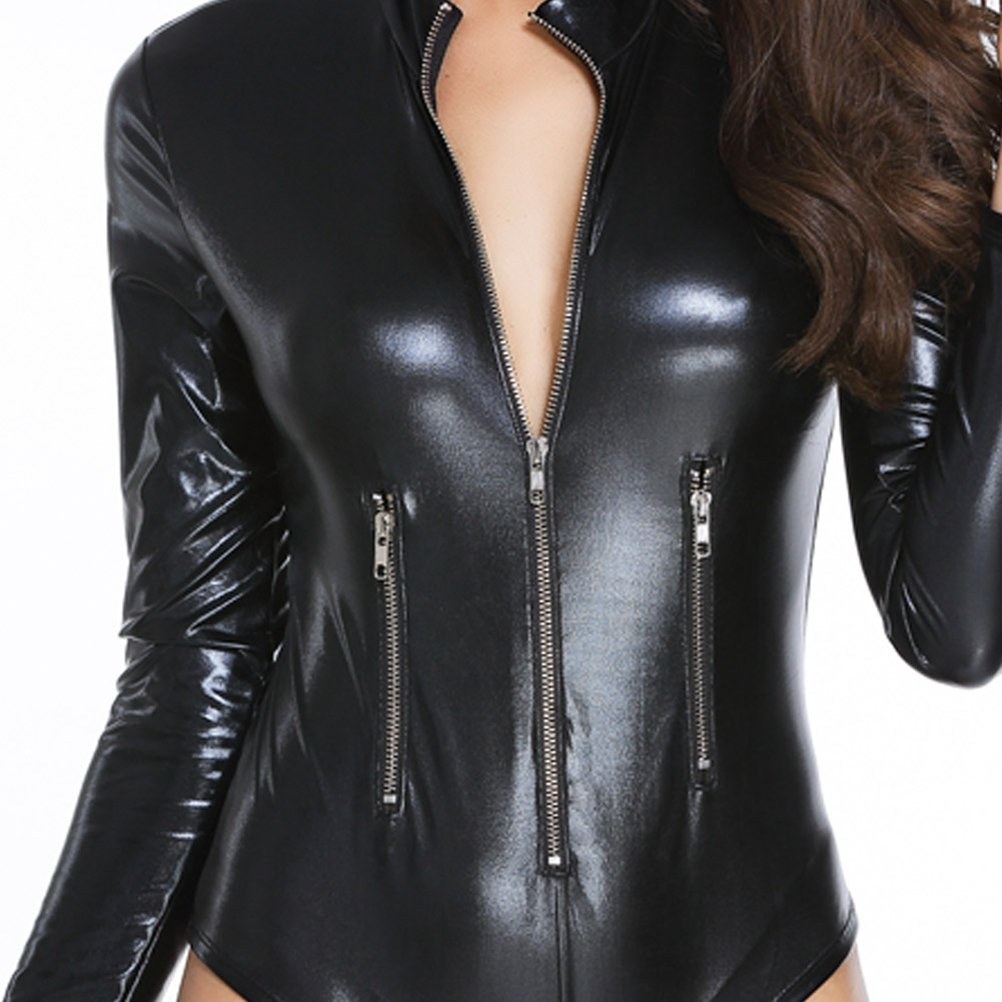 0553b9377db Amazon.com  Women Sexy Deep V PU Leather Rompers Motorcycle Bodysuit Shorts  with Long Sleeve - S  Arts