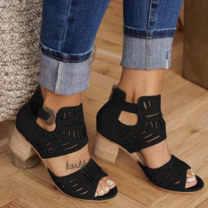 Amazon.com: Botas perforadas para mujer con tacón bajo y ...