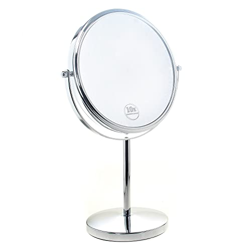 TUKA Freestanding Cosmetic Mirror 5x Zoom, 8 inch Make Up Mirror Pedestal Table Mirror for Bathroom Bedroom, Shaving Mirror Cosmetic Vanity Mirror Double Sided Chrome, x5 Magnification TKD3108-5x