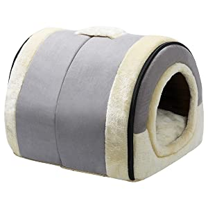 Hollypet Crystal Velvet Self-Warming  Foldable Cave House Shape Nest Pet Sleeping Bed for Cats and Small Dogs Suitable for Indoor or Outdoor