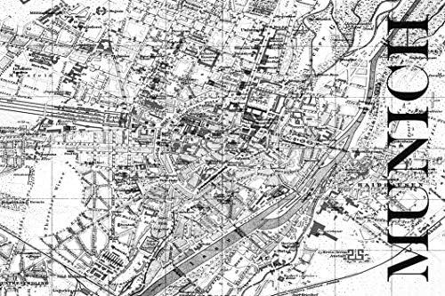 David Springmeyer - Mapa de Múnich con Mapa de Carreteras, diseño Vintage, Color Blanco y Negro, Adhesivo de Pared, Fieltro, Negro/Blanco, 90 x 60 cm: Amazon.es: Juguetes y juegos