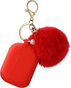 Protective Case Cover for Airpods Pro Charging Case, Upgraded Air Pods Silicone Case Skin Newest with Soft Cute Fur Ball Pom Pom Keychain Kit (A, Red)