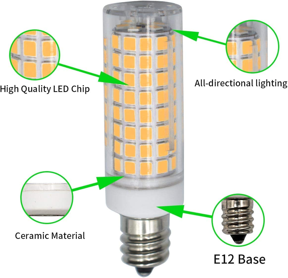 Pack of 4 E12 60W 70W Halogen Equivalent LED Light Bulb Dimmable Warm White 3000K 5w 6W 600Lumen AC 110V 120V 360/°Beam Angle T3 T4 Base Ceiling Fan Bulbs and Chandeliers
