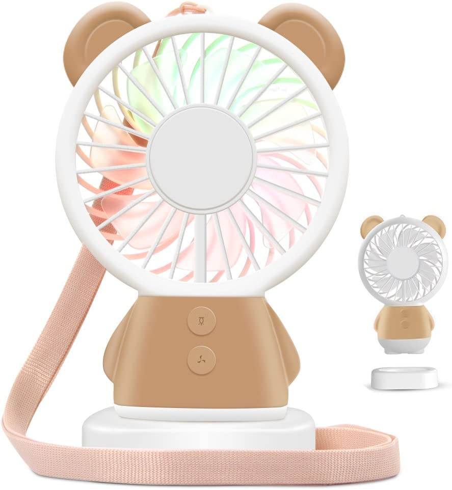 HOOFUN Portable Mini Fan Handheld Fan LED Color Changing Fan for Kids USB Rechargeable, Bear Desk Pocket Fan with Base for Travel Outdoor Climbing Office Home, 800mAh 2 Speeds Adjustable Brown