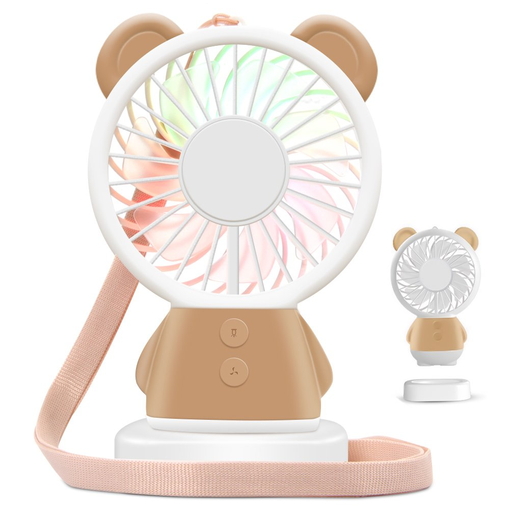 HOOFUN Portable Mini Fan Handheld Fan LED Color Changing Fan for Kids USB Rechargeable, Bear Desk Pocket Fan with Base for Travel Outdoor Climbing Office Home, 800mAh 2 Speeds Adjustable (Brown)