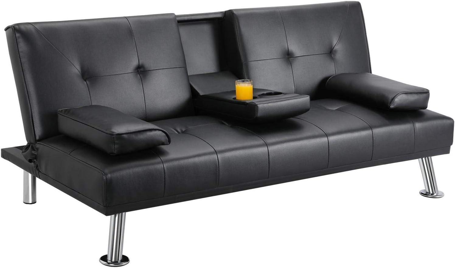 - Amazon.com: YAHEETECH Leather Futon Couch Futon Sofa Bed Modern
